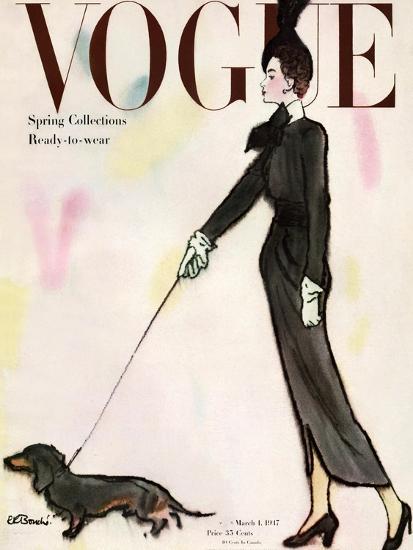 Vogue Cover - March 1917 - Dachshund Stroll-Ren? R. Bouch?-Premium Giclee Print