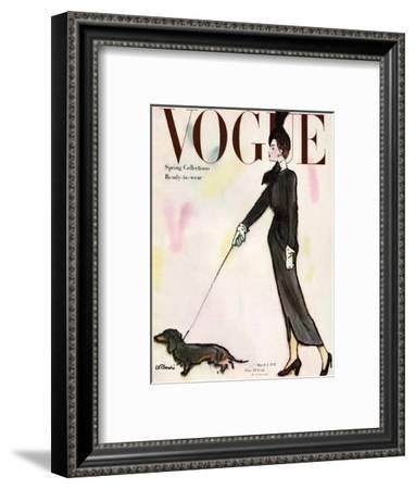 Vogue Cover - March 1917 - Dachshund Stroll-René R. Bouché-Framed Premium Giclee Print