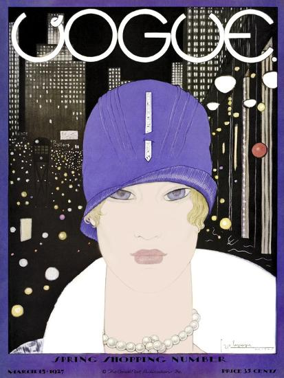 Vogue Cover - March 1927-Georges Lepape-Premium Giclee Print