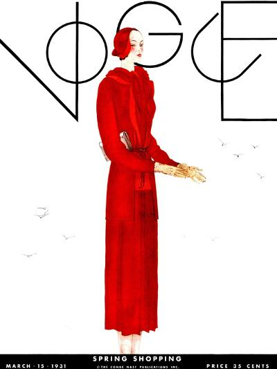 Vogue Cover - March 1931-Georges Lepape-Premium Giclee Print