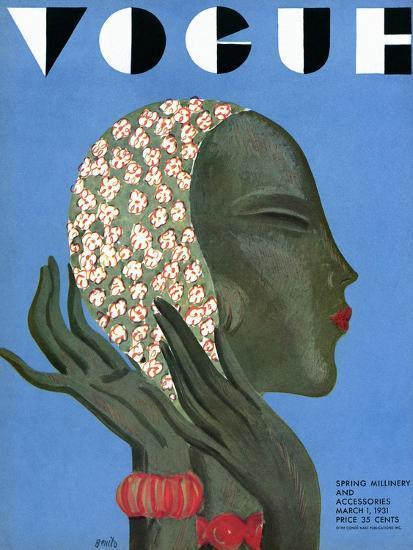Vogue Cover - March 1931-Eduardo Garcia Benito-Premium Giclee Print