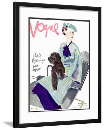 Vogue Cover - March 1935-Pierre Mourgue-Framed Giclee Print
