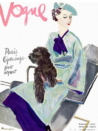 Vogue Cover - March 1935-Pierre Mourgue-Premium Giclee Print