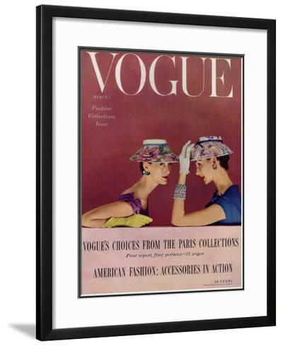 Vogue Cover - March 1954-Richard Rutledge-Framed Giclee Print