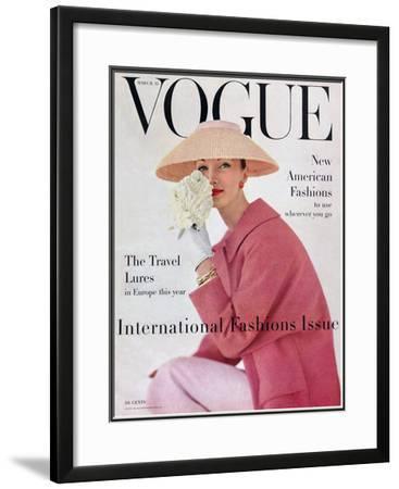 Vogue Cover - March 1956-Karen Radkai-Framed Giclee Print