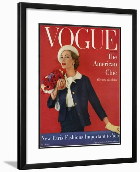 Vogue Cover - March 1957-Karen Radkai-Framed Giclee Print