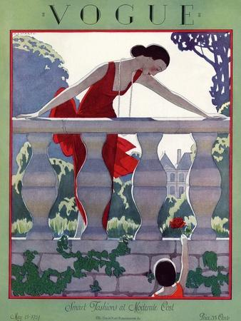 Vogue Cover - May 1924-Andr? E. Marty-Premium Giclee Print