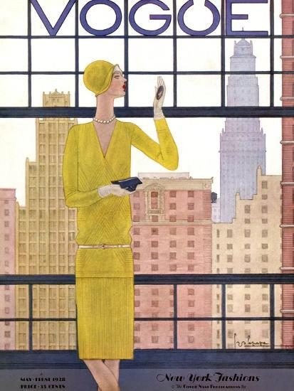 Vogue Cover - May 1928 - City View-Georges Lepape-Premium Giclee Print