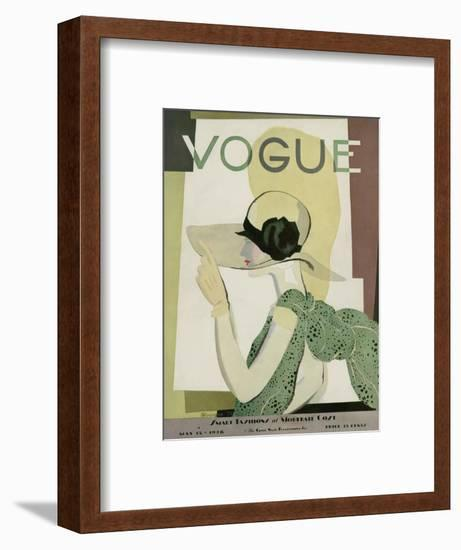 Vogue Cover - May 1928-Georges Lepape-Framed Premium Giclee Print