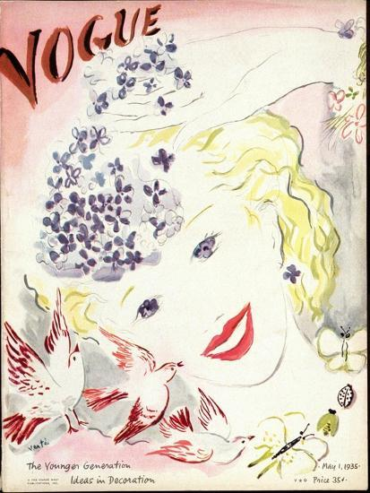 Vogue Cover - May 1935-Marcel Vertes-Premium Giclee Print