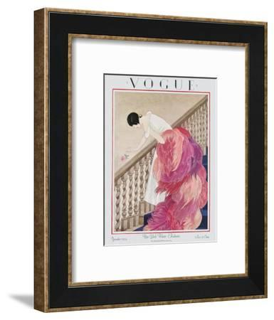 Vogue Cover - November 1924-George Wolfe Plank-Framed Premium Giclee Print