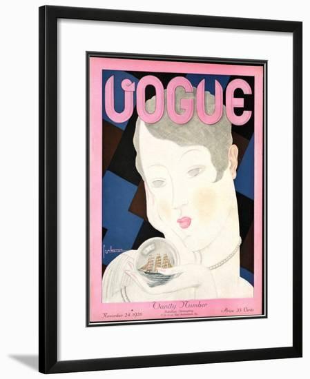 Vogue Cover - November 1928-Georges Lepape-Framed Giclee Print