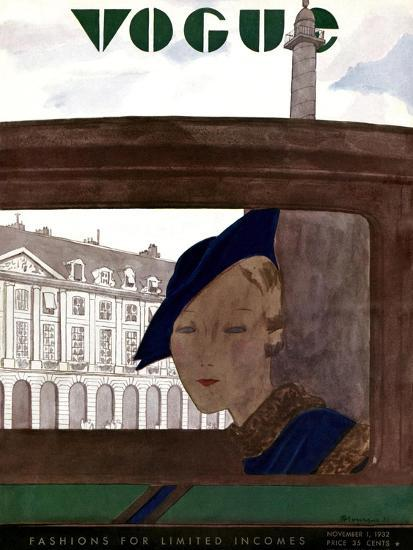 Vogue Cover - November 1932-Pierre Mourgue-Premium Giclee Print