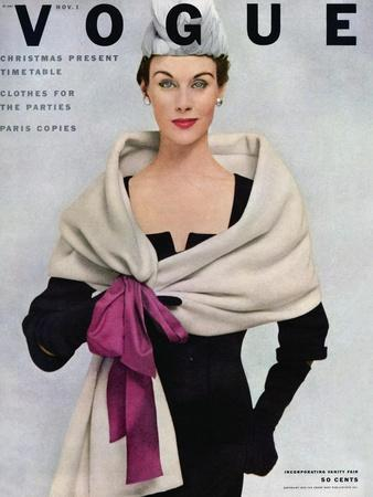 Vogue Cover - November 1952 - Tied with a Bow-Frances Mclaughlin-Gill-Premium Giclee Print