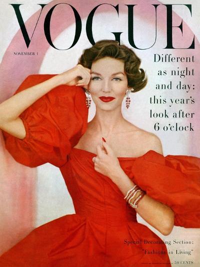 Vogue Cover - November 1956-Richard Rutledge-Premium Giclee Print