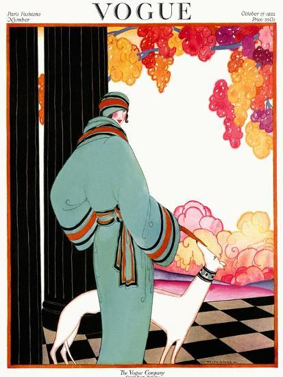 Vogue Cover - October 1922 - Dressed to Teal-Helen Dryden-Premium Giclee Print