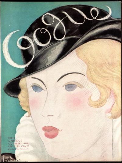 Vogue Cover - October 1931-Georges Lepape-Premium Giclee Print