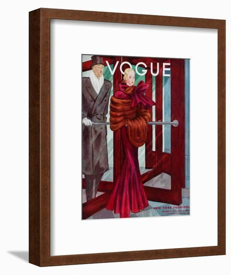 Vogue Cover - October 1933-Georges Lepape-Framed Premium Giclee Print
