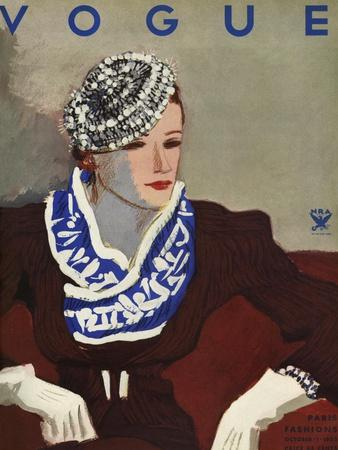 Vogue Cover - October 1933-Eduardo Garcia Benito-Premium Giclee Print