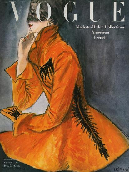 Vogue Cover - October 1947-Ren? R. Bouch?-Premium Giclee Print