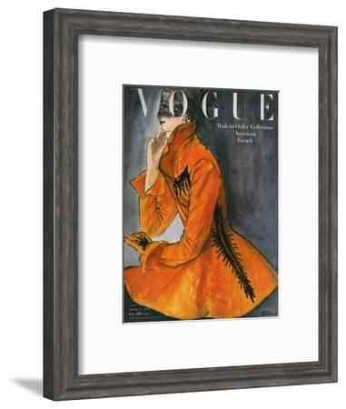 Vogue Cover - October 1947-René R. Bouché-Framed Premium Giclee Print