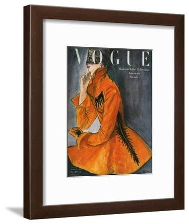 Vogue Cover - October 1947-René R. Bouché-Framed Premium Giclee Print