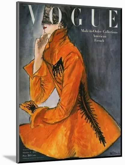 Vogue Cover - October 1947-René R. Bouché-Mounted Premium Giclee Print