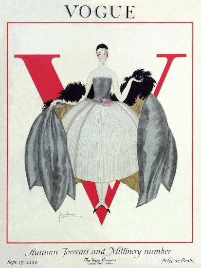 Vogue Cover - September 1920 - Wrapped in Feathers-Georges Lepape-Premium Giclee Print