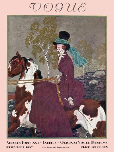 Vogue Cover - September 1927-Pierre Brissaud-Premium Giclee Print