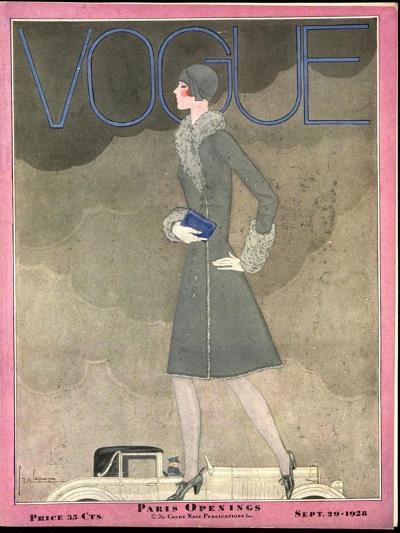 Vogue Cover - September 1928-Georges Lepape-Premium Giclee Print
