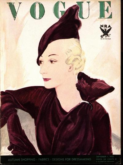 Vogue Cover - September 1933-Jean Pag?s-Premium Giclee Print