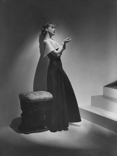 Vogue - December 1934 - Lanvin Gown Posed Beside Stairs-Horst P. Horst-Premium Photographic Print