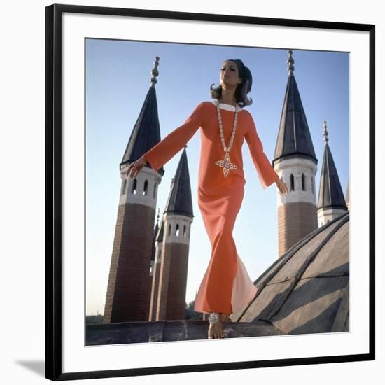 Vogue - December 1966 - Orange Christian Dior Dress-Henry Clarke-Framed Premium Photographic Print