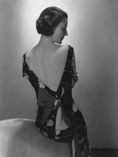 Vogue - February 1934 - Model in Printed Dress with Low-Cut Back-Edward Steichen-Premium Photographic Print