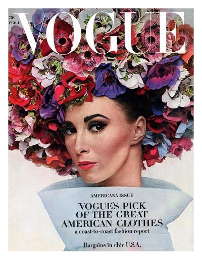 Vogue - February 1964 - Hat In Bloom-Bert Stern-Premium Photographic Print