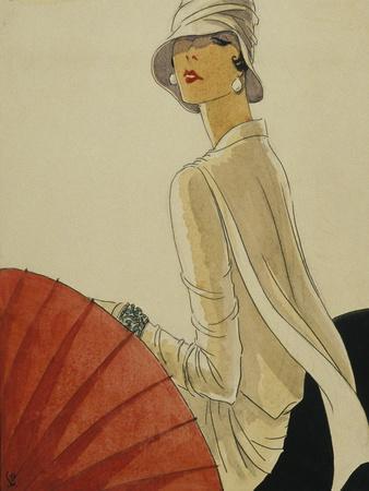 Vogue - January 1928 - Red Parasol-Porter Woodruff-Premium Giclee Print