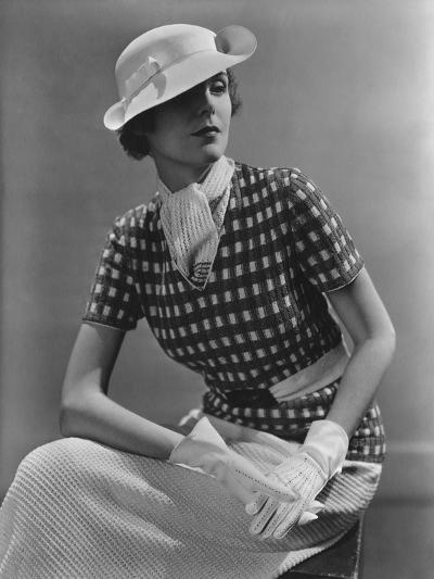 Vogue - January 1935 - Woman in Knitted Sportswear and White Hat-Lusha Nelson-Premium Photographic Print