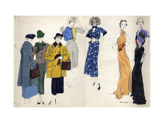Vogue - January 1935-Pierre Mourgue-Premium Giclee Print