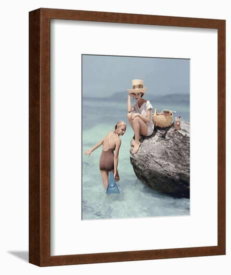Vogue - January 1957 - Picnic Rock-Richard Rutledge-Framed Premium Photographic Print