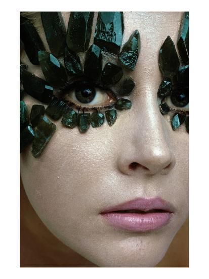 Vogue - January 1968 - Emerald-Encrusted Eyes-Gianni Penati-Premium Photographic Print