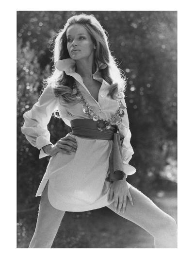 Vogue - January 1969 - Veruschka Wearing Shirtdress-Franco Rubartelli-Premium Photographic Print