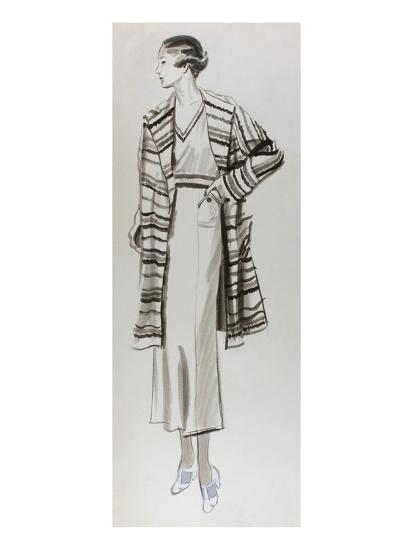 Vogue - June 1934 - Woman in Striped Coat-Lemon-Premium Giclee Print