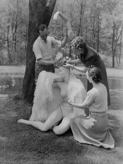 Vogue - June 1941 - Assembling a Mannequin in the Woods-Andr? Durst-Premium Photographic Print