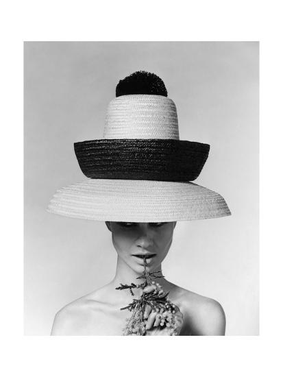 Vogue - June 1963 - Galitzine Hat-Karen Radkai-Premium Photographic Print