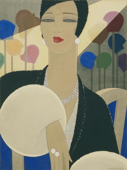 Vogue - March 1928-Harriet Meserole-Premium Giclee Print