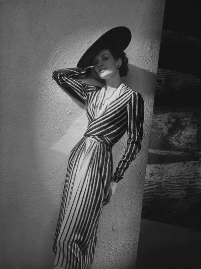 Vogue - March 1938 - Vertical Striped Dress by Lelong-Andr? Durst-Premium Photographic Print