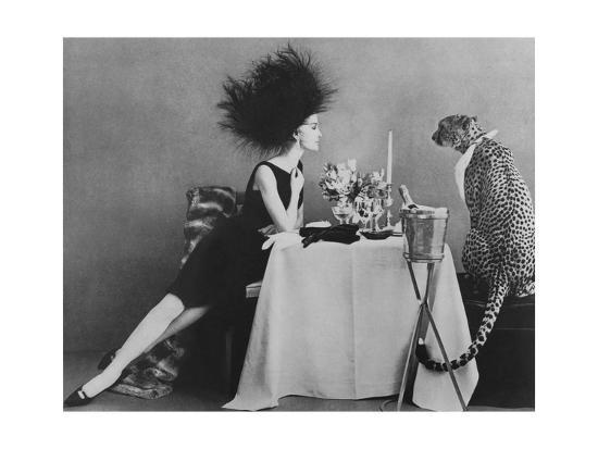Vogue - November 1960 - Dining with a Cheetah-Leombruno-Bodi-Premium Photographic Print