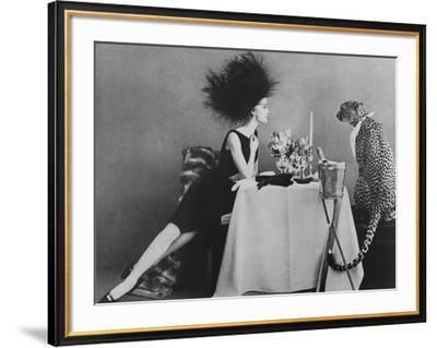 Vogue - November 1960 - Dining with a Cheetah-Leombruno-Bodi-Framed Premium Photographic Print