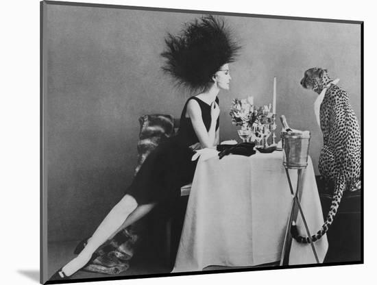 Vogue - November 1960 - Dining with a Cheetah-Leombruno-Bodi-Mounted Premium Photographic Print