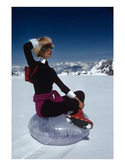 Vogue - November 1968 - Marisa Berenson Atop a Glacier-Arnaud de Rosnay-Premium Photographic Print
